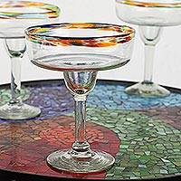 Blown glass margarita glasses, 'Confetti Path' (set of 5) - Set of 5 Artisan Crafted Blown Glass Margarita Glasses