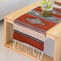 Zapotec wool table runner, 'Diamond-Stars' - Hand Made Zapotec Table Runner