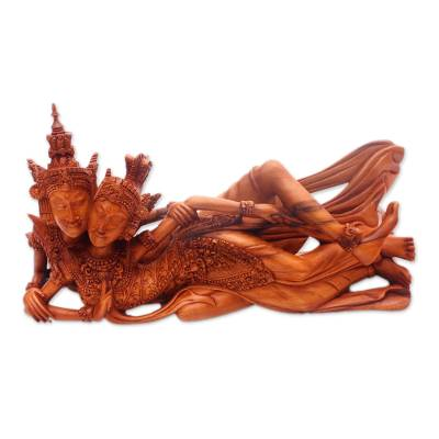 Wood sculpture, 'Lying Rama and Sita' - Hand-Carved Rama and Sita Sculpture from Bali
