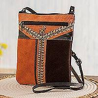 Leather accented suede sling, 'Llama Mountain'
