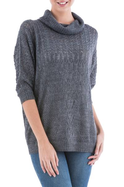 Pullover sweater, 'Evening Flight in Grey' - Grey Pullover Sweater with Three Quarter Length Sleeves