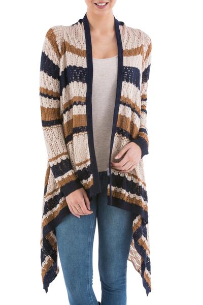 Cardigan sweater, 'Evening Mirage' - Striped Beige Cardigan Sweater from Peru