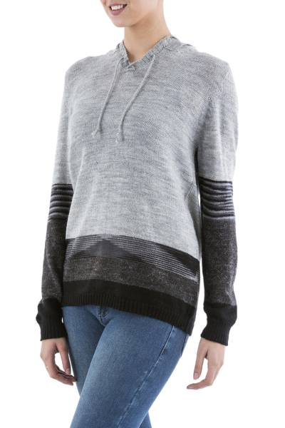 Hoodie sweater, 'Grey Imagination' - Black and Grey Striped Hoodie Sweater from Peru