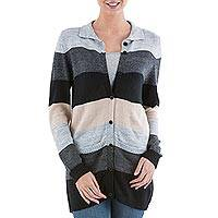 Cardigan sweater, 'Visual Addiction in Grey' - Black and Grey Striped Cardigan Sweater from Peru