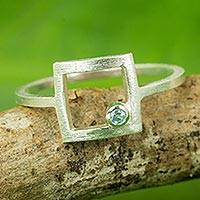 Blue topaz cocktail ring, 'Looking Outside'