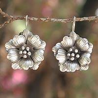 Silver flower earrings, 'Chiang Mai Rose'