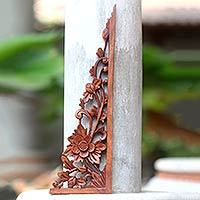 Wood relief panel, 'Lotus Tendrils' - Balinese Hand Carved Lotus Blossom Wood Relief Panel
