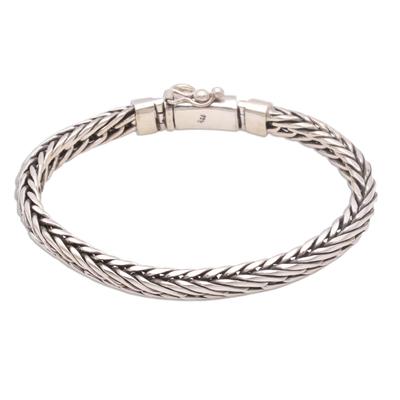 Sterling silver chain bracelet, 'Foxtail Balance' - Sterling Silver Foxtail Chain Bracelet from Bali