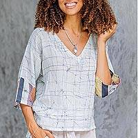 Cotton batik blouse, 'Elegant Veins' - Vein Motif White Cotton Batik Blouse from Thailand