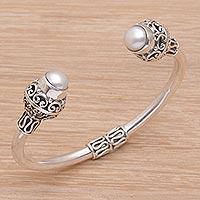 Cultured pearl cuff bracelet, 'Monument' - Ornate Sterling Silver Cuff Bracelet with Cultured Pearls