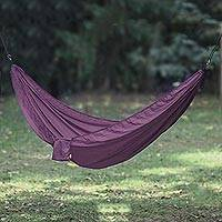 Parachute hammock, 'Uluwatu Aubergine' (double) - Purple Parachute Hammock with Hook Rope Included (Double)