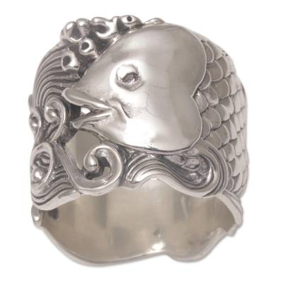Sterling silver band ring, 'Guardian Koi' - Sterling Silver Fish-Themed Band Ring from Bali