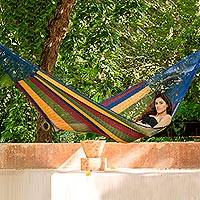 Handwoven rope hammock, 'Tropical Wind' (single) - Hand Crafted Colorful Stripe Nylon Rope Single-Sized Hammock