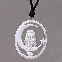 Bone pendant necklace, 'Magic Night' - Owl and Moon Bone Pendant Necklace Handmade in Bali