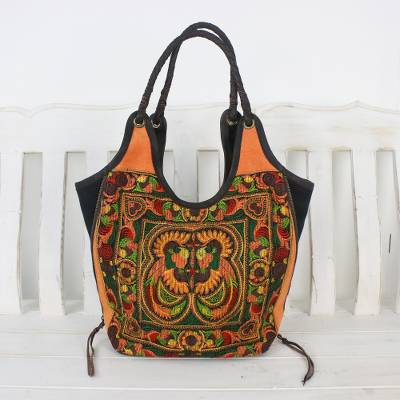 Leather accent embroidered shoulder bag, Sunny Pheasants