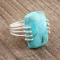 Reconstituted turquoise cocktail ring, 'Stunning Charm' - Reconstituted Turquoise Cocktail Ring from India
