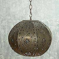 Tin hanging lamp, 'Mexican Balloon' - Mexican Hanging Lamp Hand Crafted in Tin and Glass