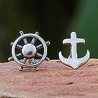 Sterling silver button earrings, 'Setting Sail' - 925 Silver Nautical Stud Earrings Handcrafted in Thailand
