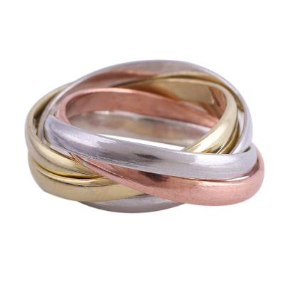 Sterling silver, copper, and brass multi-band ring, 'Classic Quintet' - Sterling Silver Copper and Brass Band Ring from India