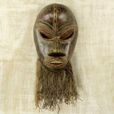 African wood mask, 'Dan' - Hand Carved Sese Wood and Jute West African Wall Mask