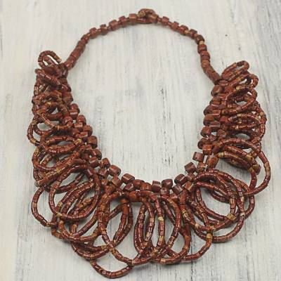 Bauxite beaded necklace, 'Good Turn' - Bauxite Beaded Loop Necklace from West Africa