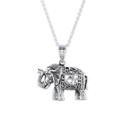 Sterling silver pendant necklace, 'Graceful Elephant' - Handcrafted Sterling Silver Regal Elephant Pendant Necklace