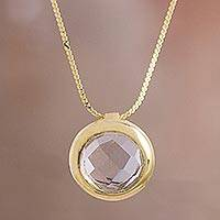 Gold plated quartz pendant necklace, 'Golden Circle'
