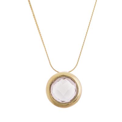Gold plated quartz pendant necklace, 'Golden Circle' - 18k Gold Plated Quartz Pendant Necklace from Peru