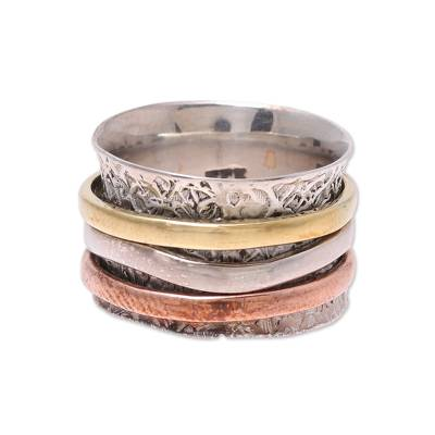Sterling silver, copper, and brass meditation ring, 'Trio Treasure' - Sterling Silver Copper Brass Meditation Spinner Ring
