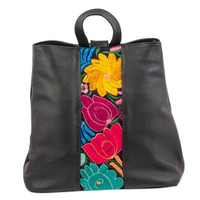 Cotton accent leather backpack, 'Floral Sophistication' - Floral Cotton Accent Blue Leather Backpack from Mexico