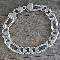 Men's sterling silver link bracelet, 'Bold Man'