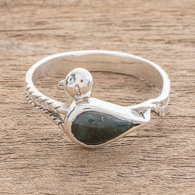 Jade band ring, 'Mayan Quetzal' - Bird-Themed Jade Cocktail Ring from Guatemala