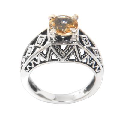 Citrine cocktail ring, 'Sun Goddess Temple' - Balinese Silver Lattice Handcrafted Citrine Cocktail Ring