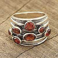 Garnet multi-stone ring, 'Scarlet Passion' - Faceted Garnet Multi-Stone Ring from India