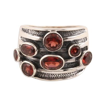 Garnet multi-stone ring, 'Scarlet Passion' - Faceted Garnet Multi-Stone Ring from India