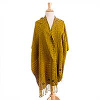 Cotton shawl, 'Chiapas Afternoon' - Dark Ivy and Maize Cotton Shawl Crafted in Mexico