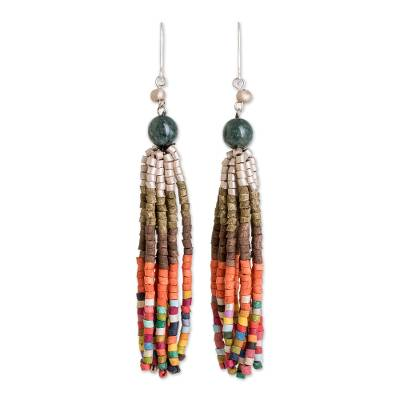 Natural Jade and Ceramic Beaded Waterfall Earrings
