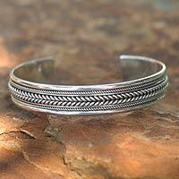 Sterling silver cuff bracelet, 'Lanna Illusions'