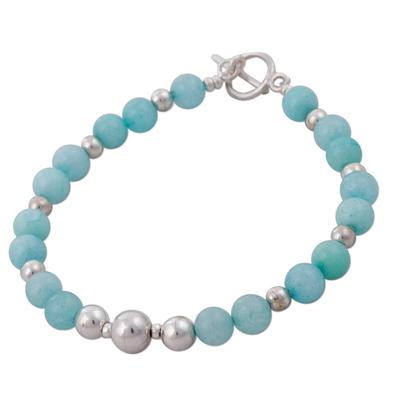 Amazonite beaded bracelet, 'Amazon Dreams' - Artisan Crafted Amazonite and 925 Silver Beaded Bracelet