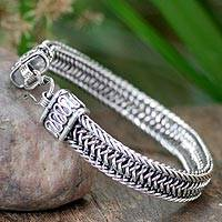 Men's sterling silver bracelet, 'Kingdom' - Men's Sterling Silver Chain Bracelet