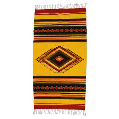 Zapotec wool rug, 'Summer Sun' (2.5x5) - Hand Made Zapotec Wool Area Rug (2.5x5)