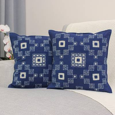 Cotton batik cushion covers, 'Indigo Palace' (pair) - Handmade Batik Cotton Cushion Covers in Indigo (Pair)