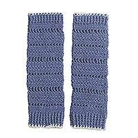 Alpaca blend leg warmers, 'Cadet Blue Warmth' - Crocheted Alpaca Blend Leg Warmers in Cadet Blue from Peru