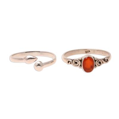 Carnelian and sterling silver rings, 'Delightful Fire' (pair) - Carnelian and Sterling Silver Rings from India (Pair)