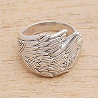 Sterling silver band ring, 'Wing Feathers'