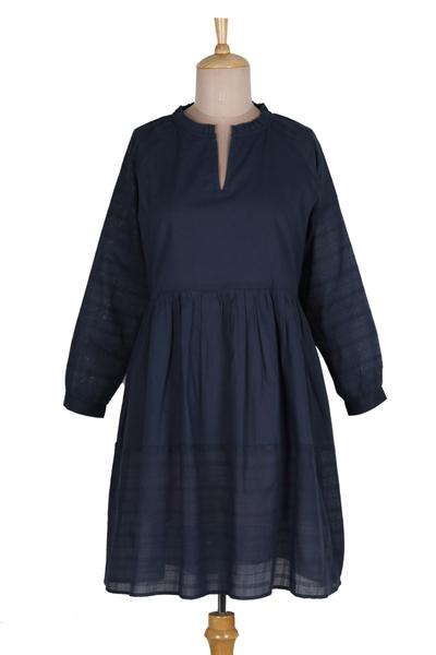 Cotton babydoll dress, 'Midnight Mischief' - Navy Blue Cotton Short Babydoll Dress