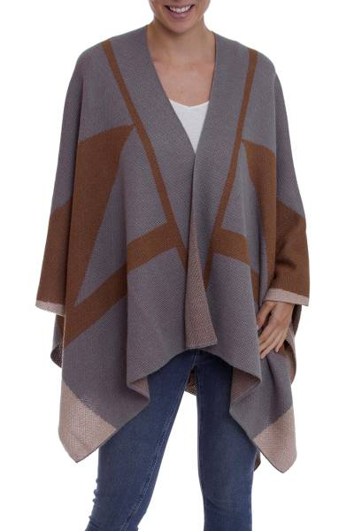 100% baby alpaca ruana, 'Andean Heart' - Grey and Brown 100% Baby Alpaca Knit Ruana from Peru