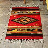 Zapotec wool rug, 'Green Maguey' (2x3)