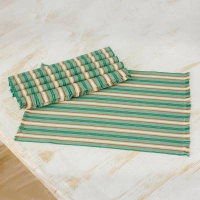 Cotton placemats, 'Celadon Trails' (set of 6) - Six Striped Cotton Placemats in Celadon from Guatemala