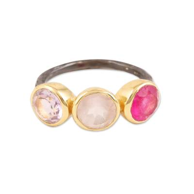 Gold accented multi-gemstone cocktail ring, 'Pretty Trio' - Gold-Accented Multi-Gemstone Cocktail Ring from India